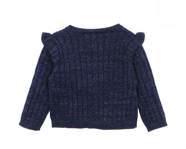 fox + finch frill cardigan - navy - freddie the rat kids boutique