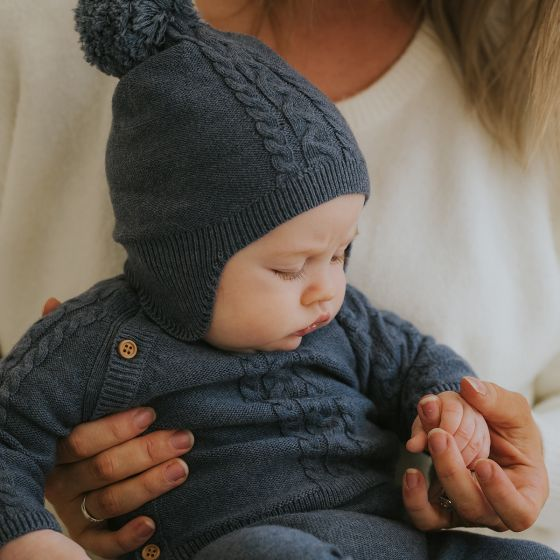 bebe finn cable beanie - dusty blue - freddie the rat kids boutique