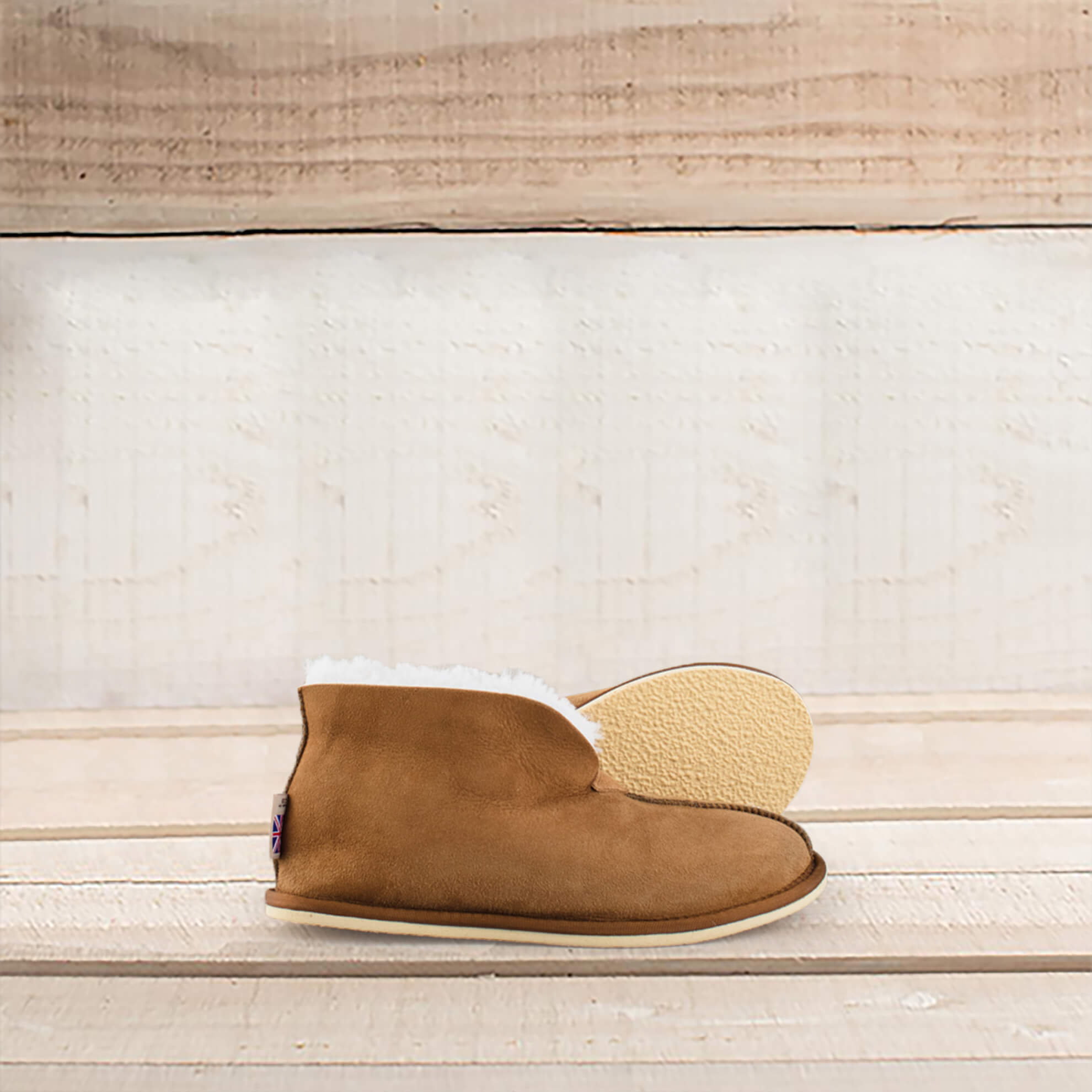 British-Made Shearling Bootee Slippers