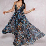 European and American deep V-neck back chiffon dress - SSStyleN.com