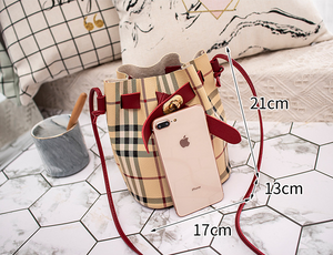 One-shoulder pu bag plaid bucket bag - SSStyleN.com