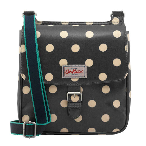 Cath Kidston Front Flat Button Spot Buckle Closure Tab Saddle Bag Charcoal 774178 - SSStyleN.com