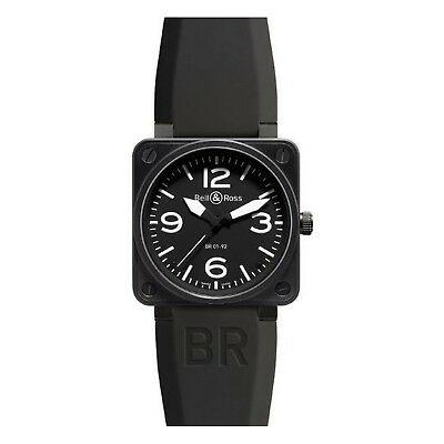 Bell and Ross Aviation Stainless Steel Men's Rubber Band Black 46mm Watch BR0192-BL-CA - SSStyleN.com