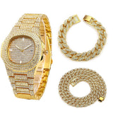 Necklace+Watch+Bracelet Hip Hop Miami Curb Cuban Chain Gold Silver Iced Out Paved Rhinestones CZ Bling Rapper Jewelry For Men - SSStyleN.com