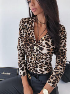 Sexy Deep V Neck Leopard Ladies Bodysuits Long Sleeve Blouse Body Women Satin Romper Animal Print Body Overalls - SSStyleN.com
