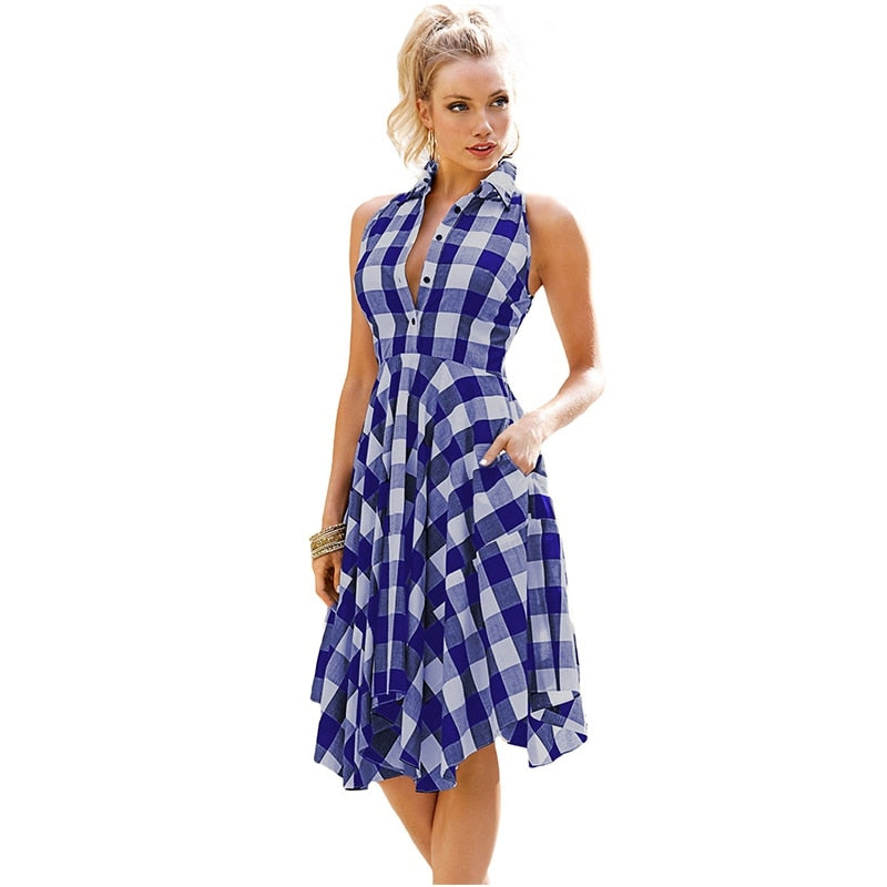 Short Sleeve Shirt A-line Vintage Women Party Flared Leisure Vestidos Dresses Dress Casual Plaid - SSStyleN.com
