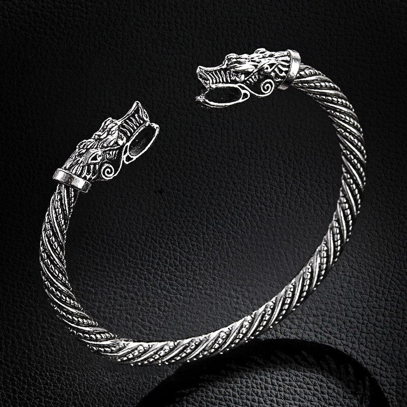 Vintage Dragon Head Mouth Open Cuff Bracelet Nordic Viking Bangle Antique Silver Color Twisted Pattern Carved Wristband Jewelry - SSStyleN.com