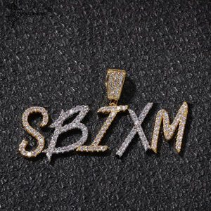 Custom Brush Font Letters Name Necklaces & Pendant Cubic Zirconia Men Women Jewelry - SSStyleN.com