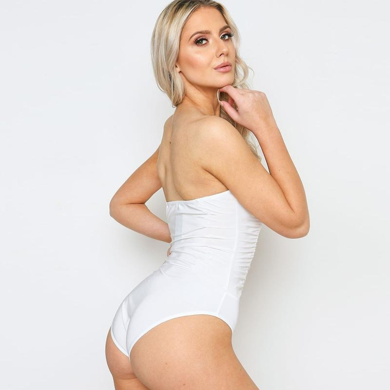 Sexy Satin White Off Shoulder Bodysuit - SSStyleN.com