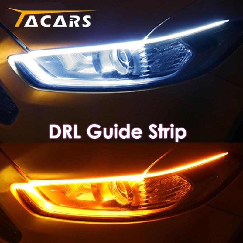 2x Ultrafine DRL 30 45 60cm Daytime Running Light Flexible Soft Tube Guide Car LED Strip White Red Turn signal Yellow Waterproof - SSStyleN.com
