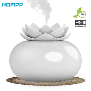 200ml Flower Essential Oil Diffuser Decorative Aromatherapy Diffusor,Cute Lotus Ceramic Humidifier Crafts ,USB Timer 12 Hours - SSStyleN.com