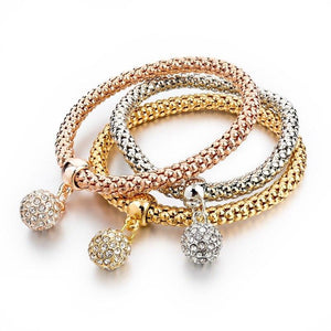 Szelam 3pcs Gold Rose Silver Mix Color Crystal Charm Bracelets Vintage Ball Pendant Necklace Jewelry Set - SSStyleN.com