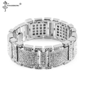 Luxury Bling Iced Out Hip Hop Bangles Big Row Simulated Stone Bracelet - SSStyleN.com