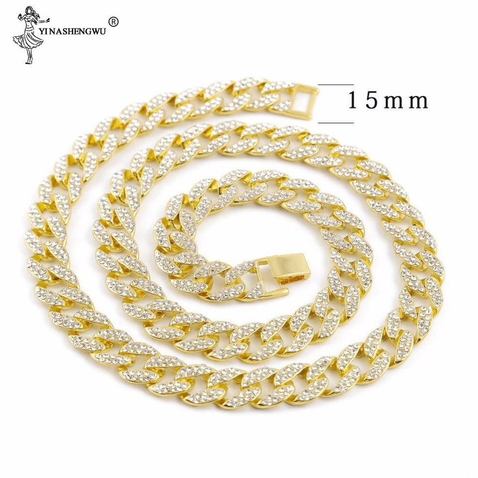 15MM Bling Rhinestone Miami Cuban Link Chain Necklace Men and Women Hip Hop Necklace Jewelry 16,18, 20,24,30 Inch - SSStyleN.com