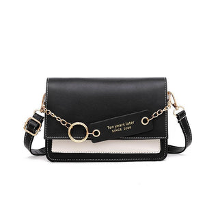 PU Leather Women's Bag Panelled Flap Handbag Fashion Ring Chain Contrast Color Female Purse For 2020 Crossbody Shoulder Bags - SSStyleN.com