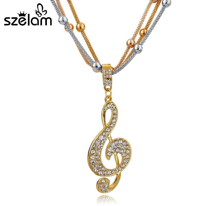 Multi Layer Vintage Austrian Crystal Note Pendants Necklace - SSStyleN.com
