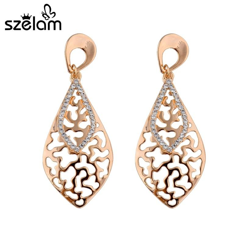 Szelam Crytal Rhinestone Gold Leaf Gold Leaf Drop Earrings - SSStyleN.com