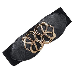 New Fashion Women's Cummerbund gold heart buckle Belt Wide WaistBand Cummerbunds for Dresses - SSStyleN.com