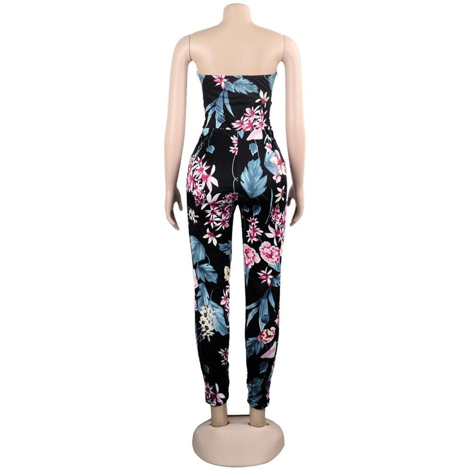 Sexy Summer Off Shoulder Bohemian Palm Print Lace Up Jumpsuit/Rompers - SSStyleN.com