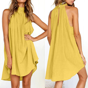 Womens Holiday Irregular Dress Ladies Summer Beach Bohemian Sleeveless Dress - SSStyleN.com