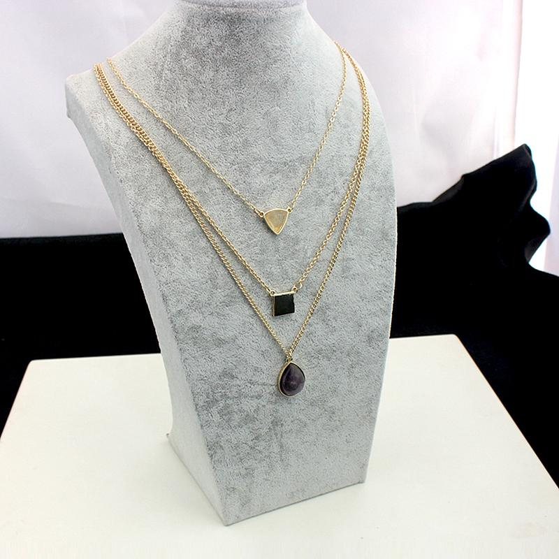 Szelam Bohemian Multilayer Water Drop Purple Natural Stone Necklace - SSStyleN.com