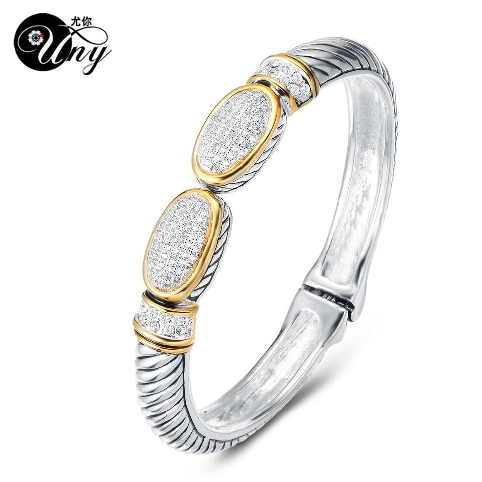 Beautiful Bangle Pave Stone Cable Wire Retro Antique Spring Claps Bangle - SSStyleN.com