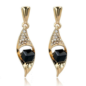 Szelam Crystal Gold Color Stud Earrings CZ - SSStyleN.com