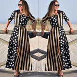 KANCOOLD Dress Womens Boho Half Sleeve Wave Point Fashion Dress Ladies Casual Evening Paty Long Dress women 2018AUG15 - SSStyleN.com