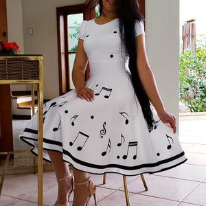 Vintage Summer Maxi Dresses Musical Note Print Short Sleeve - SSStyleN.com