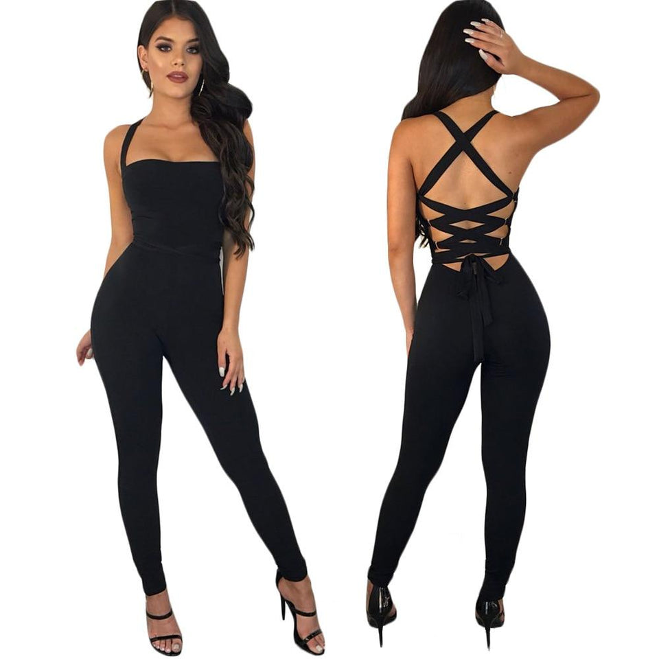 Sexy Backless Hollow Out Bandage Jumpsuit - SSStyleN.com