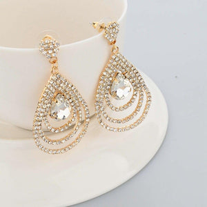 Gold Filled Crystal Teardrop Earrings - SSStyleN.com
