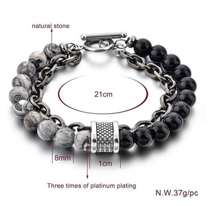 Szelam Stainless Steel Splicing Natural Stone Chain Charm Bracelets - SSStyleN.com