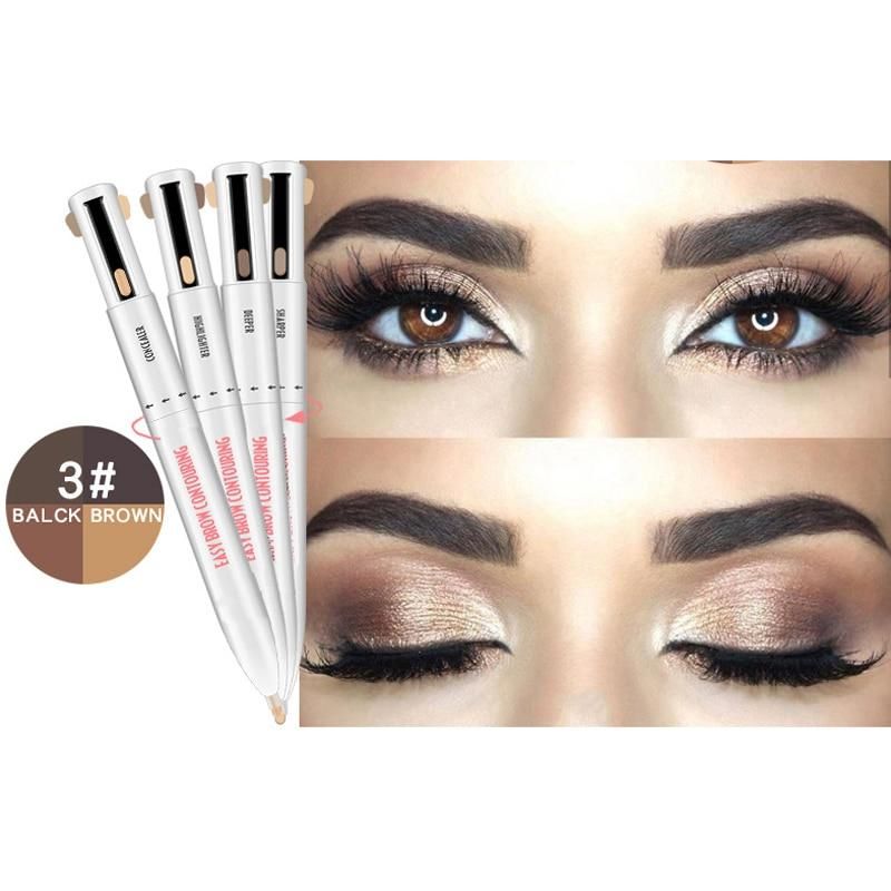 4-in-1 Easy to Wear Eyebrow Contour Pen Waterproof Defining Highlighting Eyebrow Pencil - SSStyleN.com