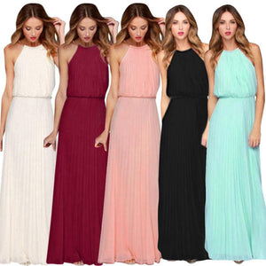 KANCOOLD dress fashion Womens Formal Chiffon Sleeveless Halter Dress Prom Evening Party Long Maxi dress women 2018jul20 - SSStyleN.com