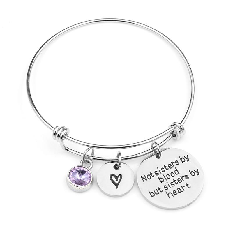 """Not sisters by blood but sisters by heart""Birthstone Bangle Bracelets Stainless Steel Charm Bracelet For Women Friendship Gift - SSStyleN.com"