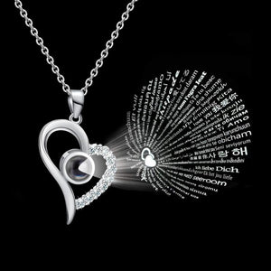 Dropshippi Platinu100 Languages I Love You Projection Pendant Necklace Women CZ Jewelry Stainless Steel Gold Chain Collier Femme - SSStyleN.com