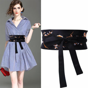 Black Embroidered Cummerbunds Flower wide Belts for Women Fashion Ladies Double Knot Tie Waistband - SSStyleN.com