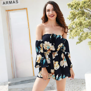 Sexy Summer Strapless Floral Print Chiffon Romper Plus Sizes - SSStyleN.com