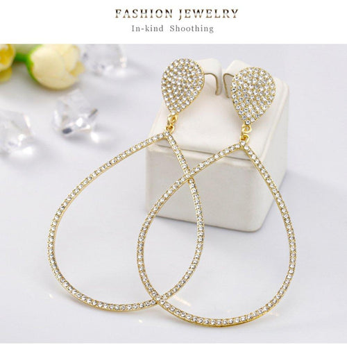 Water Drop Rhinestone Earrings - SSStyleN.com