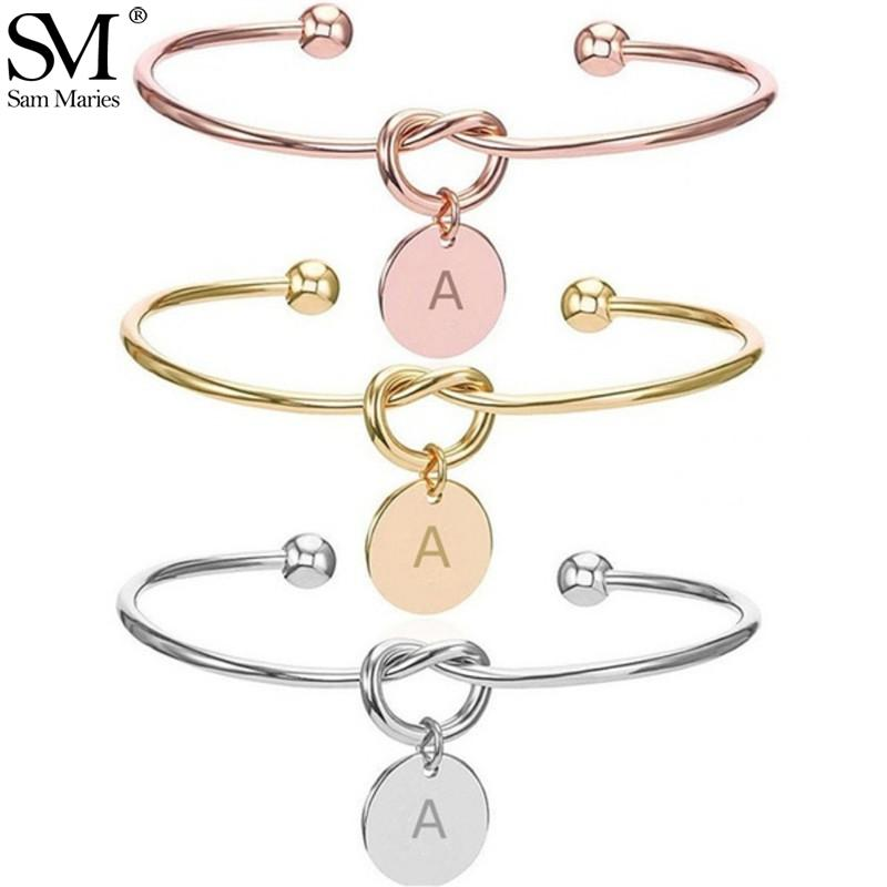 Personalized Knot Initial Bangle A-Z 26 Letters Alphabet Charm Pendant Bracelet for Women Girls Jewelry Pulseiras Gift - SSStyleN.com