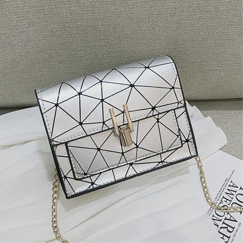 Hot Geometric Flap Handbags Small Chains Strap Single Shoulder Bags Women Messenger Bags Girls Sling Messenger Bag Chic Lock - SSStyleN.com