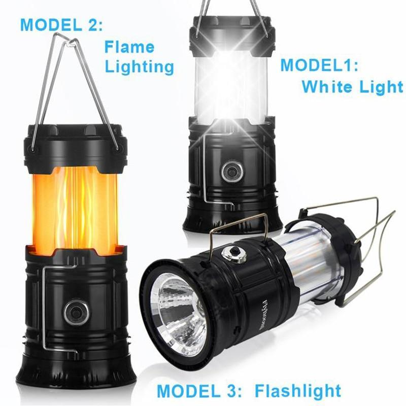 3-in-1 Camping Lantern 2 LED Light Source Poweful Portable Outdoor Tent Light Lamp LED Flame Lantern Flashlights - SSStyleN.com