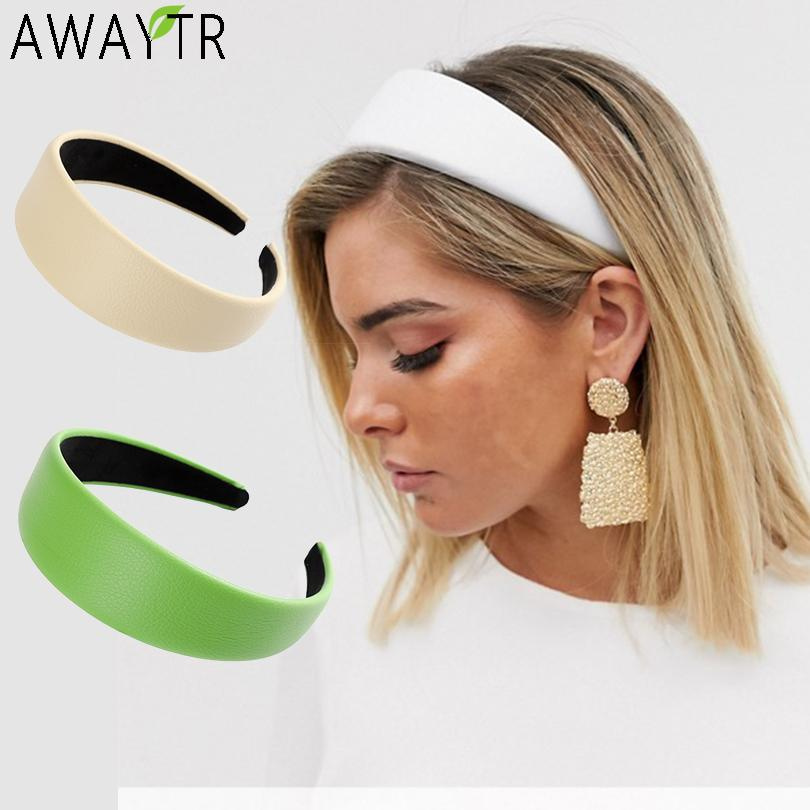 AWAYTR Leather Wide Headbands for Girls Solid Color Hairband - SSStyleN.com