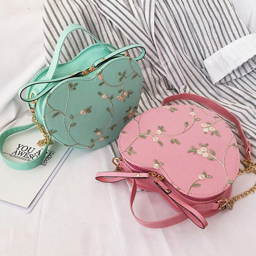 Women Flowar Lace Leather Handbag Fashion Female Small Messenger Shoulder Bag Round Designer Tote Purse Bags Crossbody Bolsa - SSStyleN.com