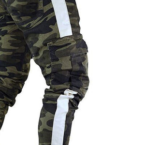 Mens Denim Camouflage Pleated Ripped Freyed Slim Fit Jeans Trousers - SSStyleN.com