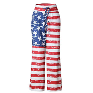 Women Drawstring Star And Striped Wide Leg Pants Leggings Trousers Loose Lady Streetwear Summer Pants Pantalones Mujer - SSStyleN.com