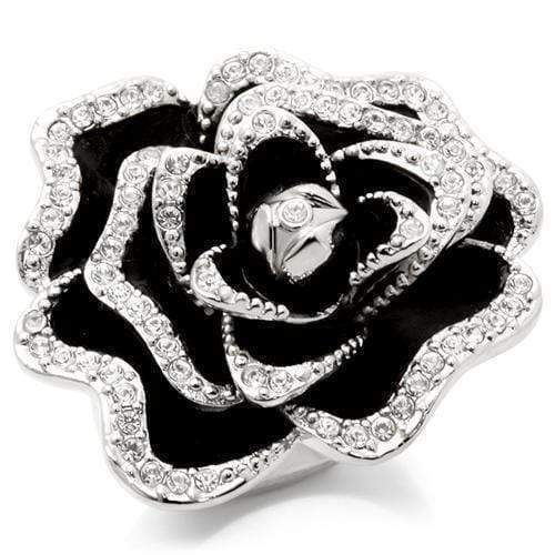 Black & Silver Rose Ring - SSStyleN.com