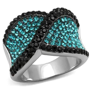 Stainless Steel Ring Two-Tone IP Black Women Top Grade Crystal Blue Zircon - SSStyleN.com