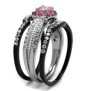 Two tone pink and black cocktail ring - SSStyleN.com