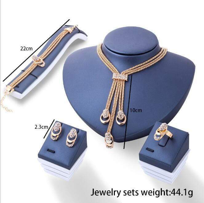 17KM Rose Gold Color Crystal Necklace Earring Bracelet Ring Set Jewelry Sets - SSStyleN.com